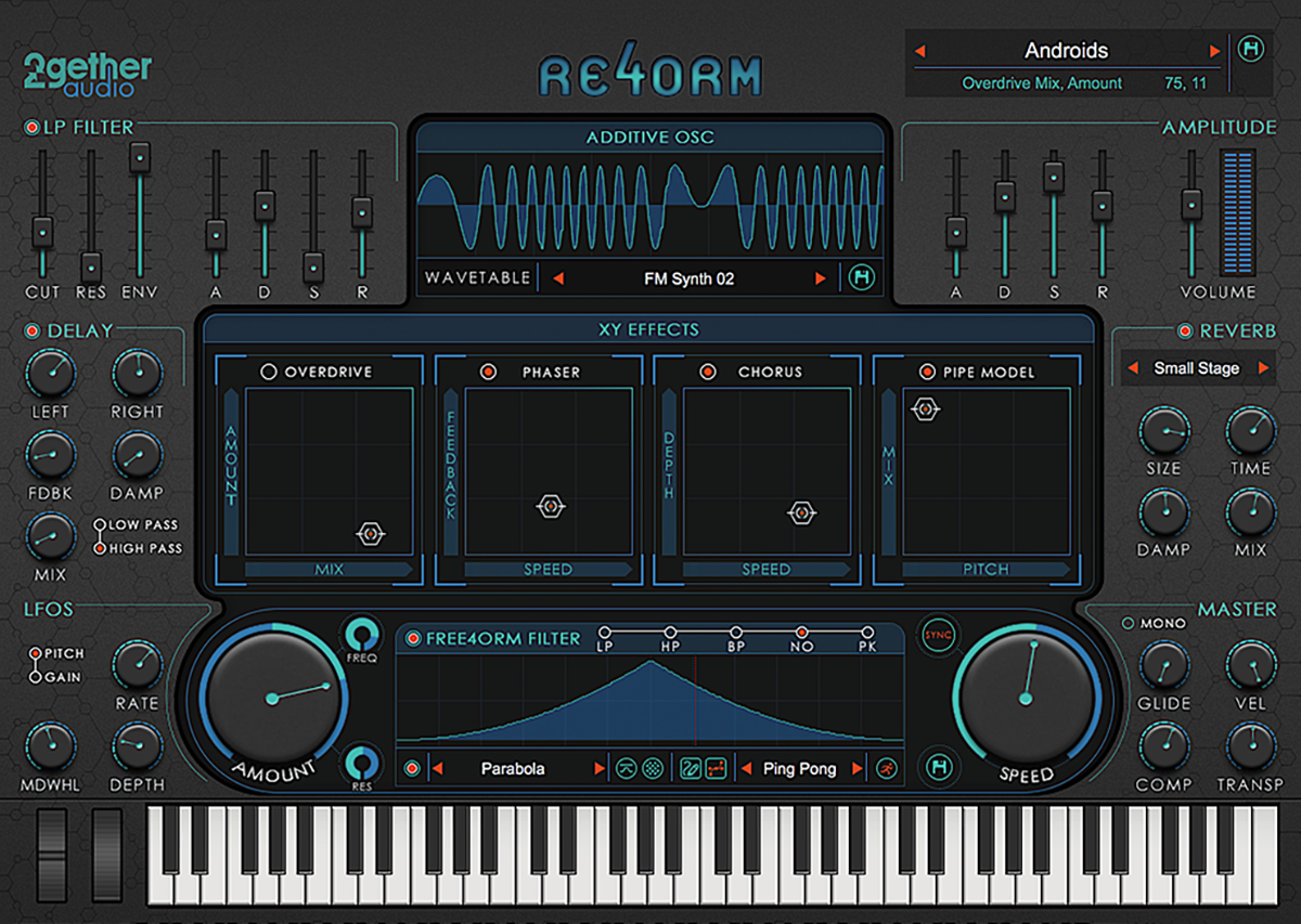 Screenshot of Re4orm virtual instrument and its remixing effects.