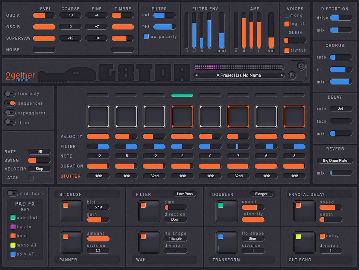 G8TOR Sequencer Synth with Live Pad FX